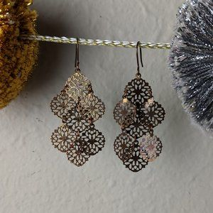 Bronze-gold medallion drop earrings